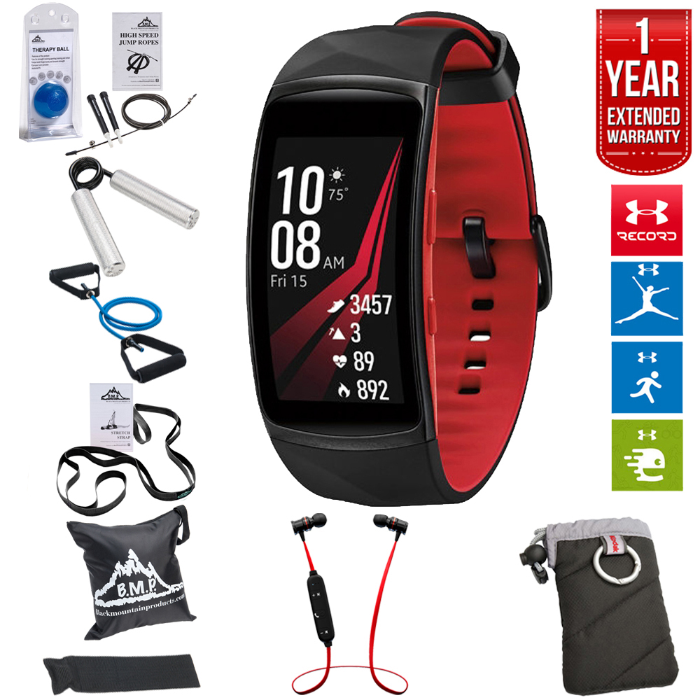 Samsung Gear Fit2 Pro Fitness Smartwatch - Red, Small (SM-R365NZRNXAR) + Fusion Bluetooth Headphones + Gear Black Jacket Case + 7 Pieces Fitness Kit + 1 Year Extended Warranty