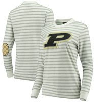 Purdue Boilermakers Women's Elbow Patch Striped Long Sleeve T-Shirt - Heathered Gray/White