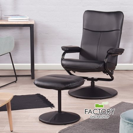 Recliner Chair Black Leather High Back Comfort Sofa Swivel w/ Footrest Ottoman High Back Recliner