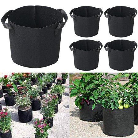 Yaheetech 5Pcs 5 Gallon Round Planter Grow Bag Plant Pouch Root Pots Container W Handles