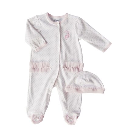 ff1f35da5 Little Me - Newborn Girls 0-9 Months Pink Ballerina Footie Coveralls  2-Piece Set - Walmart.com