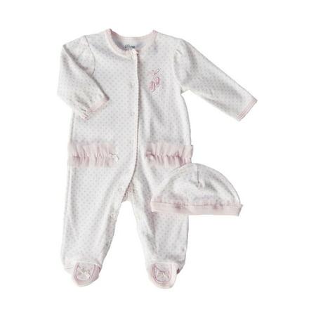 Newborn Girls 0-9 Months Pink Ballerina Footie Coveralls 2-Piece Set