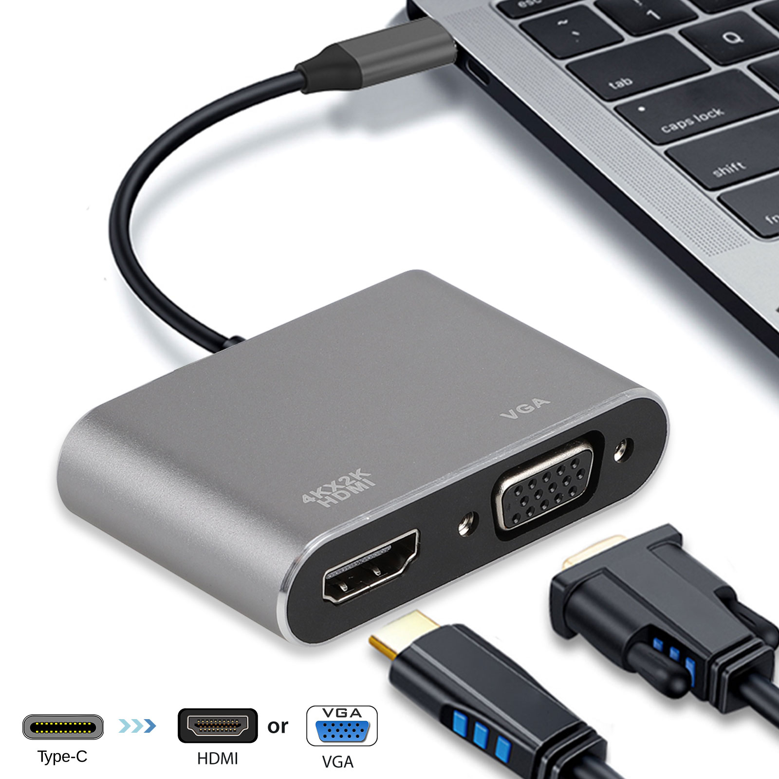 TSV USB C Hub to HDMI VGA Adapter - 2 in 1 USB C Docking Station with 4K HDMI, VGA, Compatible with MacBook Pro and More - Space Grey