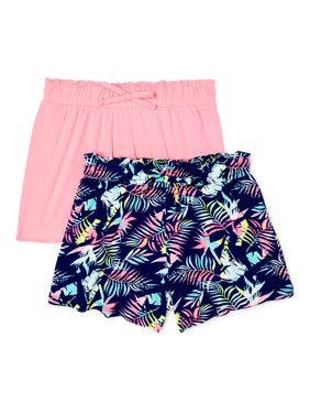 Love Republic Girls Print and Solid Paperbag Waist Fashion Shorts, 2-Pack, Sizes 7-16