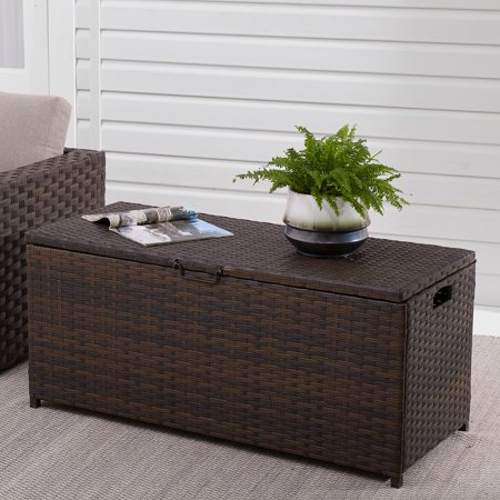 Mainstays Portwood 96 Gallon Dark Brown Wicker Deck Box