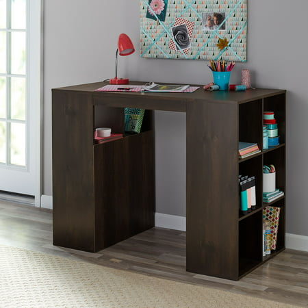 Mainstays 12-Cube Standing Craft Table and Storage Desk, Dark Chestnut (Standing Wall Desk)