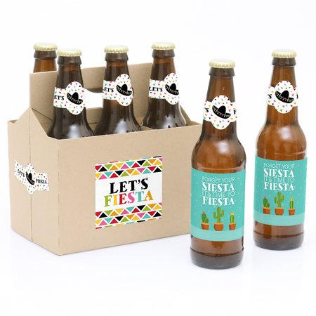 Let's Fiesta - Mexican Fiesta - 6 Beer Bottle Labels with 1 Beer Carrier Let's Fiesta - Mexican Fiesta - 6 Beer Bottle Labels with 1 Beer CarrierSet of 6 will decorate 6 bottles and 4 labels for decorating the kraft paper carrierLabels are printed on sticker paper that is waterproofThe main sticker label is 3.5  x 3  and the collar/neck sticker label is 3.5  long x 1.5  wide at the center.Apply labels to room temperature bottles. Apply beer bottle labels either after removing original label for best results or put over existing labels if you choose. Chill after you are done applying labels. (Beer in image is NOT included).