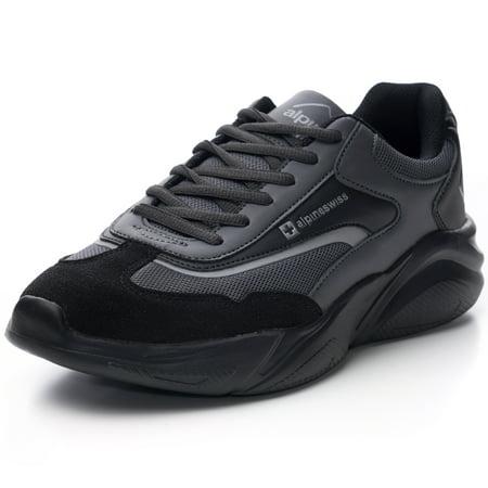 Alpine Swiss Stuart Mens Chunky Sneakers Retro Platform Dad Tennis Shoes ()