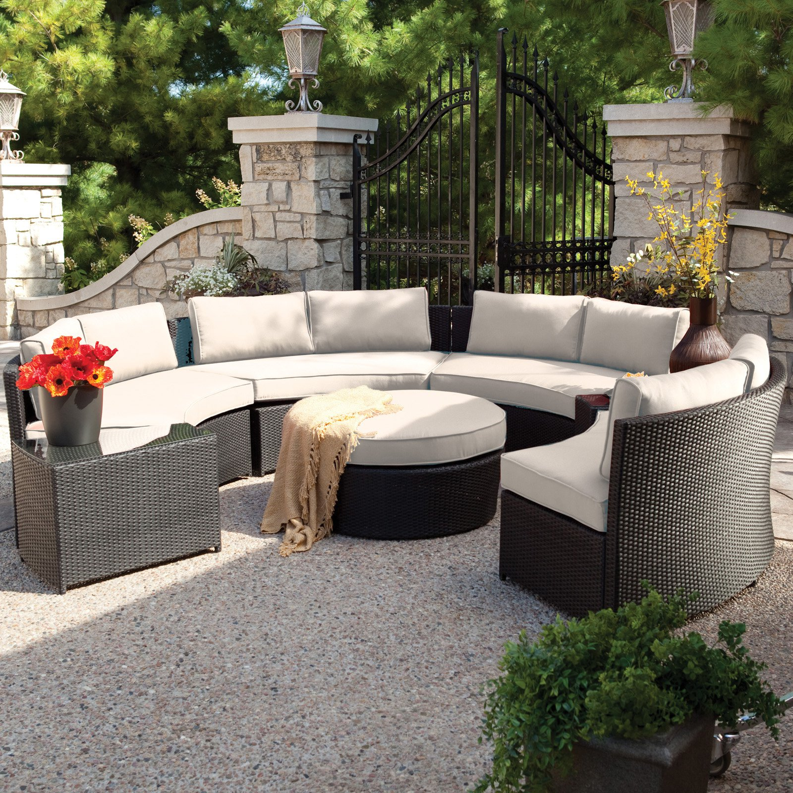 Belham Living Meridian All Weather Wicker Curved Bench Set Of 4