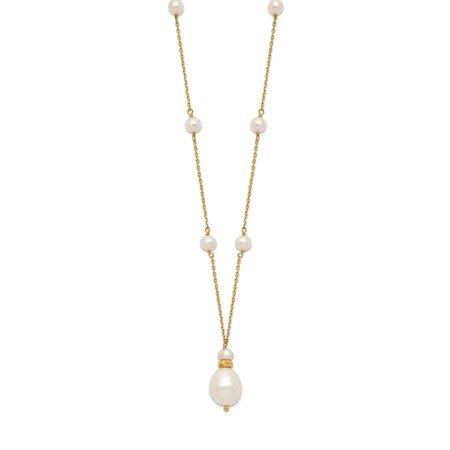 Roy Rose Jewelry 14K Yellow Gold 10-11mm & 5-6mm Rice White Freshwater Cultured Pearl Drop Necklace ~ length: 17.5 inches