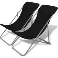 vidaXL Folding Beach Chairs 2 pcs Powder-coated Steel Black