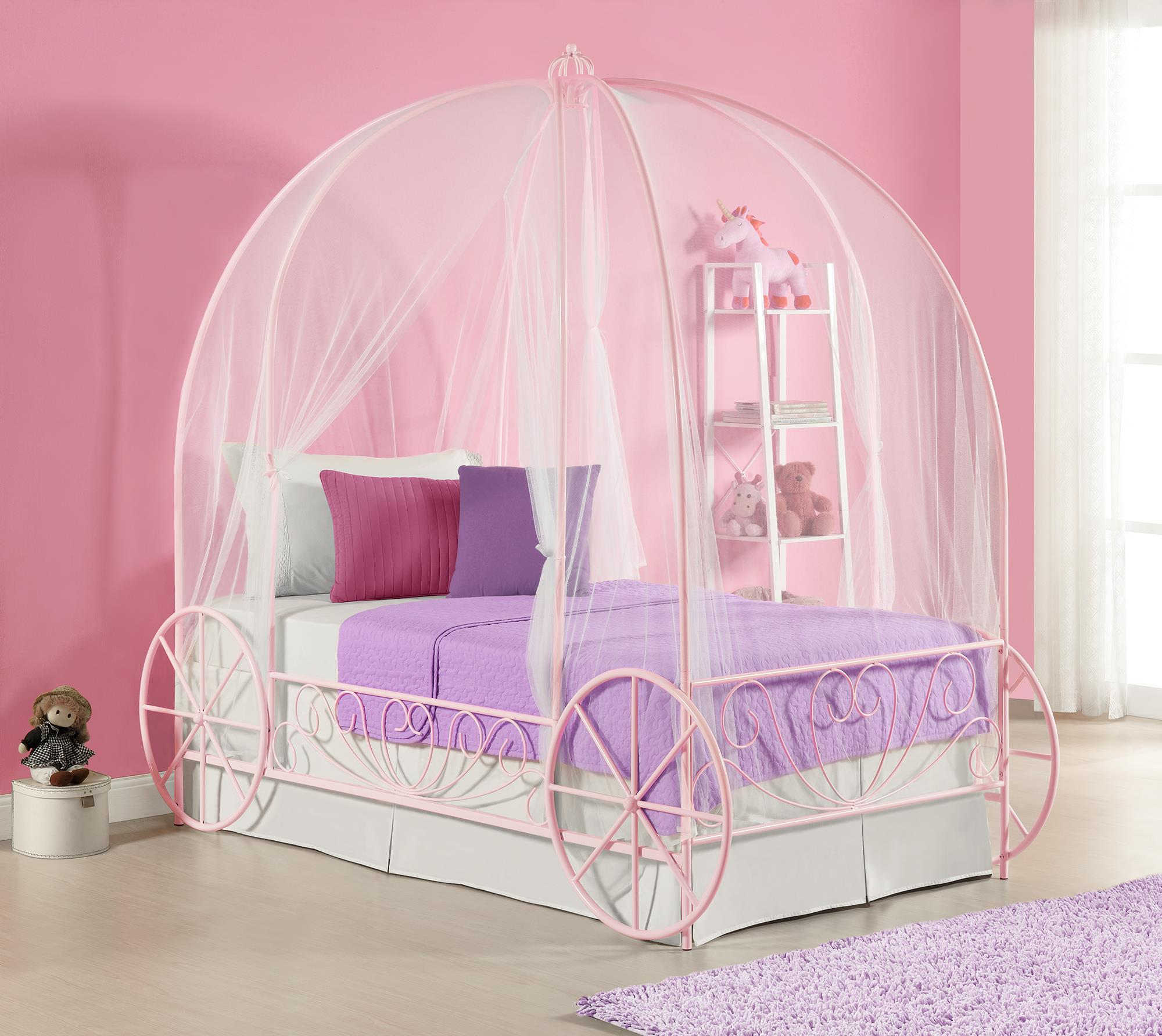 Picture of: Dhp Metal Twin Carriage Bed Multiple Colors Pink Walmart Com Walmart Com