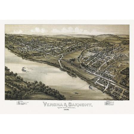 Vintage Map Of Verona Pennsylvania 1896 Allegheny County Canvas Art     24 X 36