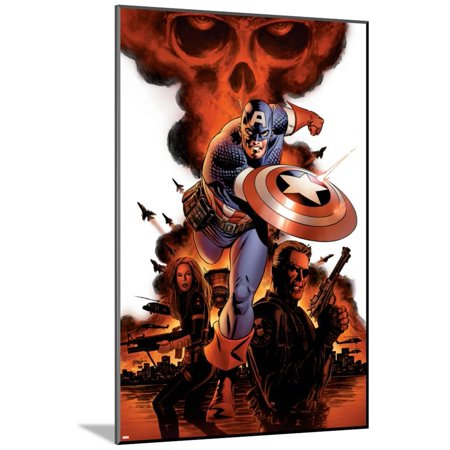 Captain America No.1 Cover: Captain America, Nick Fury and Black Widow Wood Mounted Poster Wall Art By Steve Epting - Captain America And Black Widow