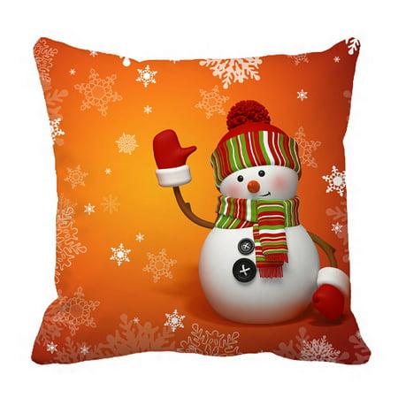 PHFZK Snowflake Pillow Case, Christmas Snowman Saying Hello Pillowcase Throw Pillow Cushion Cover Two Sides Size 18x18 inches