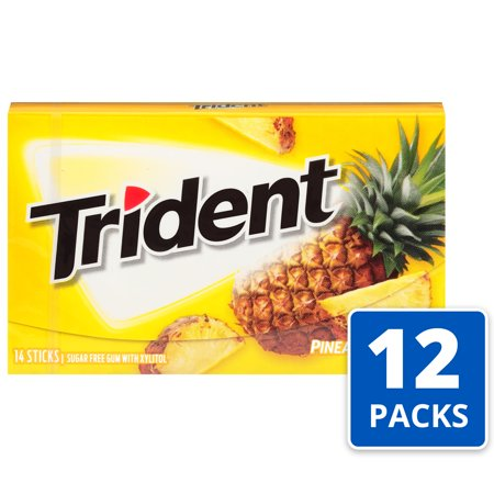 Trident, Sugar Free Pineapple Twist Chewing Gum, 14 Pcs, 12 Ct Xylitol Dental Chewing Gum