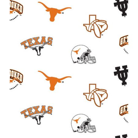 Texas Longhorns Fabric (University of Texas Cotton Fabric White Ground Allover Design-Sold by the Yard)