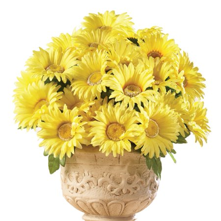 3 Daisies - Floral Gerbera Daisy Artificial Maintenance-Free Flower Bush - Set of 3, Yellow
