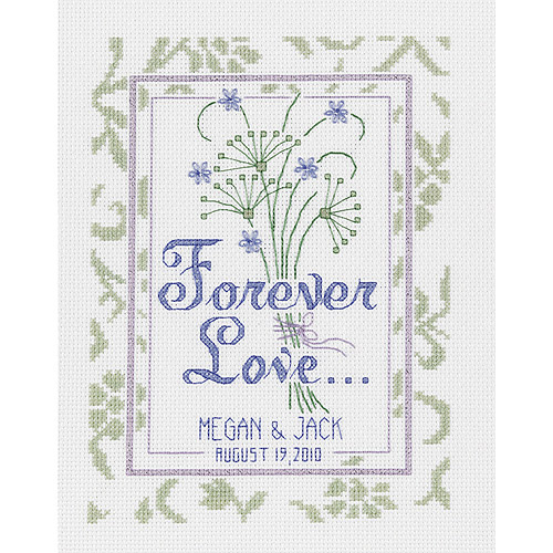 "Forever Love Wedding Record Counted Cross Stitch Kit, 8"" x 16"", 14-count"