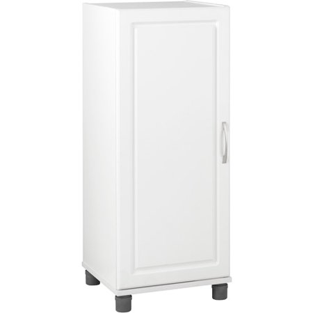 """SystemBuild 15.7""""W x 15.4""""D x 38.3""""H Single Door Storage Cabinet, Stackable, White"""