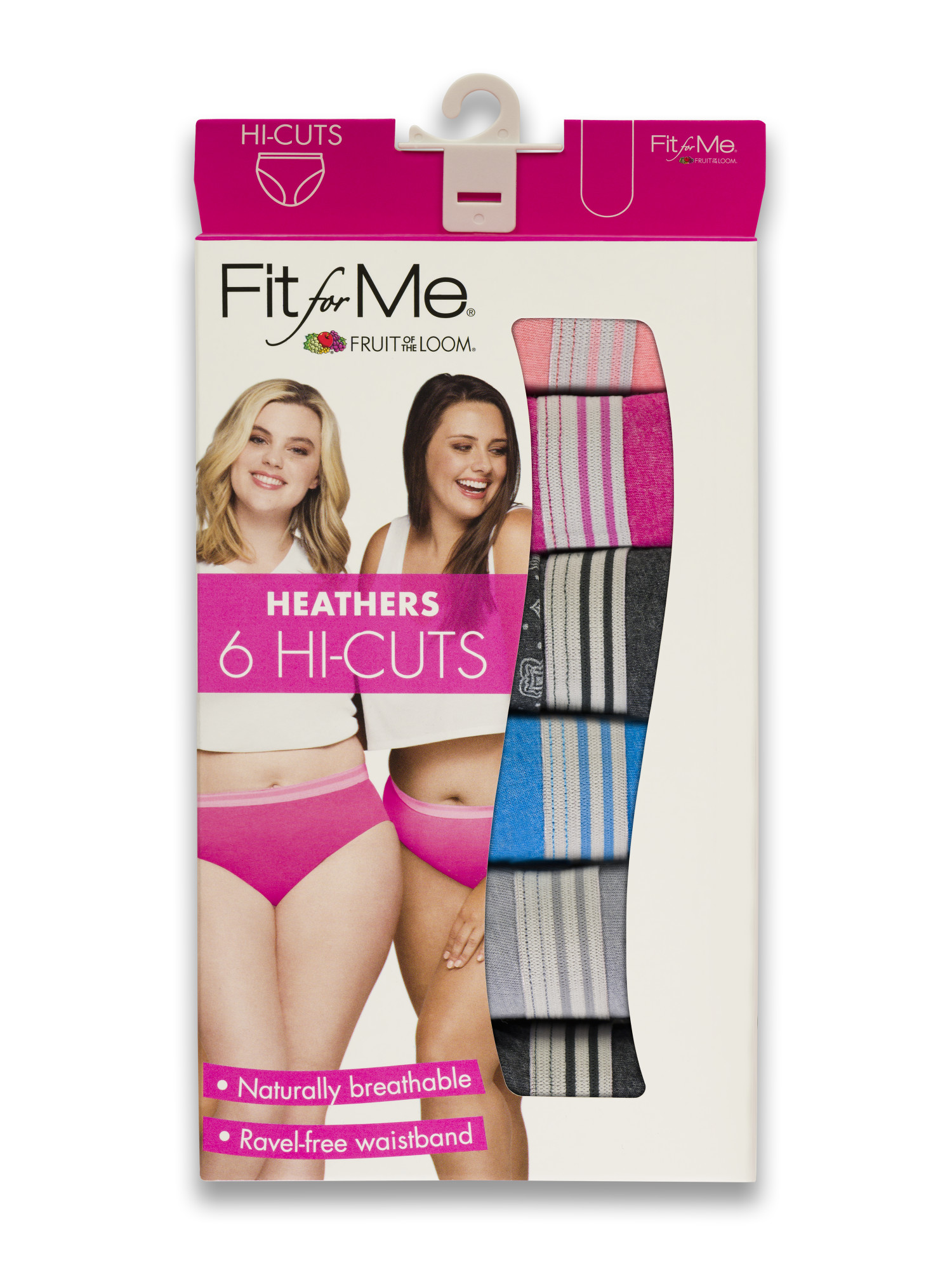 c2a2c252dffa Fit for Me by Fruit of the Loom - Women's Plus Heather Assorted Cotton Hi-Cut  Panties, 6 Pack - Walmart.com