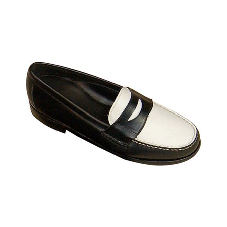 Men's David Spencer Shag Penny Loafer Black Waxy/White Floater 9.5 M