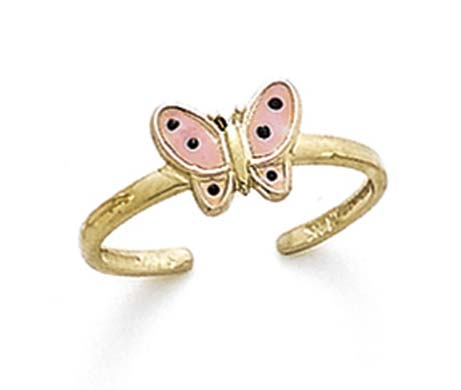 14k Yellow Gold Pink Enamel Butterfly Toe Ring .9 Grams by