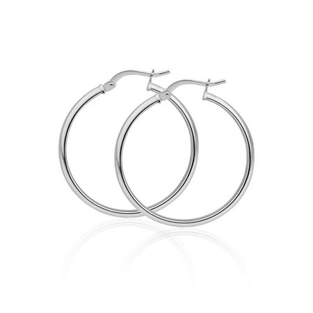 Sterling Silver High Polished Rounded Hinge 1.5mm Hoop Earrings Size 70](60 And 70 Clothes)