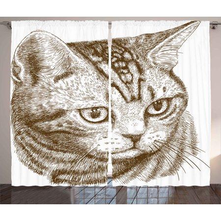 cat curtains 2 panels set portrait of a kitty domestic animal hipster best company fluffy pet - Cat Curtains