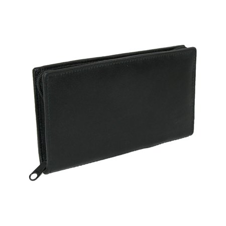 Unisex Zipped Compact Wallet - Size one size Leather Zippered Checkbook Cover and Wallet