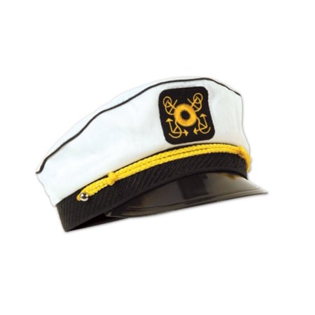 Club Pack of 12 Black and White Nautical Yacht Captain's Cap Halloween Costume Accessories - Adult