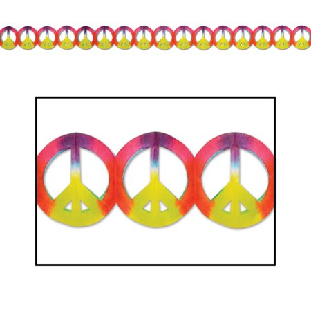 "Club Pack of 12 Vibrant Dip-Dyed Retro 60's ""Peace Sign"" Garland Party Decorations 12'"