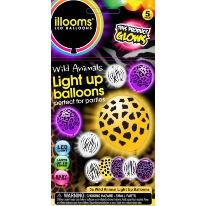 Illoomswild Animal Print LED Balloons 5 Ct Black Zebra