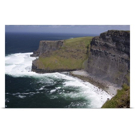 Great Big Canvas Marilyn Parver Poster Print Entitled Scenic Cliffs Of Moher And Beach With The Atlantic Ocean And Choppy Waves