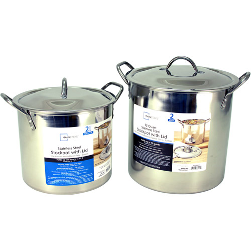Mainstays 8 and 12-Quart Stockpot Set with Lids, Stainless Steel