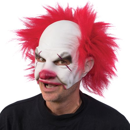 Carnival Creep Clown Latex Mask - Halloween Costume w/ Crazy Red Hair