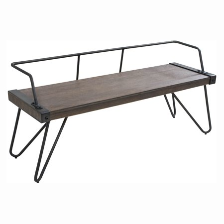 Stefani Industrial Bench in Antique and Walnut by LumiSource Cherry Walnut Bench