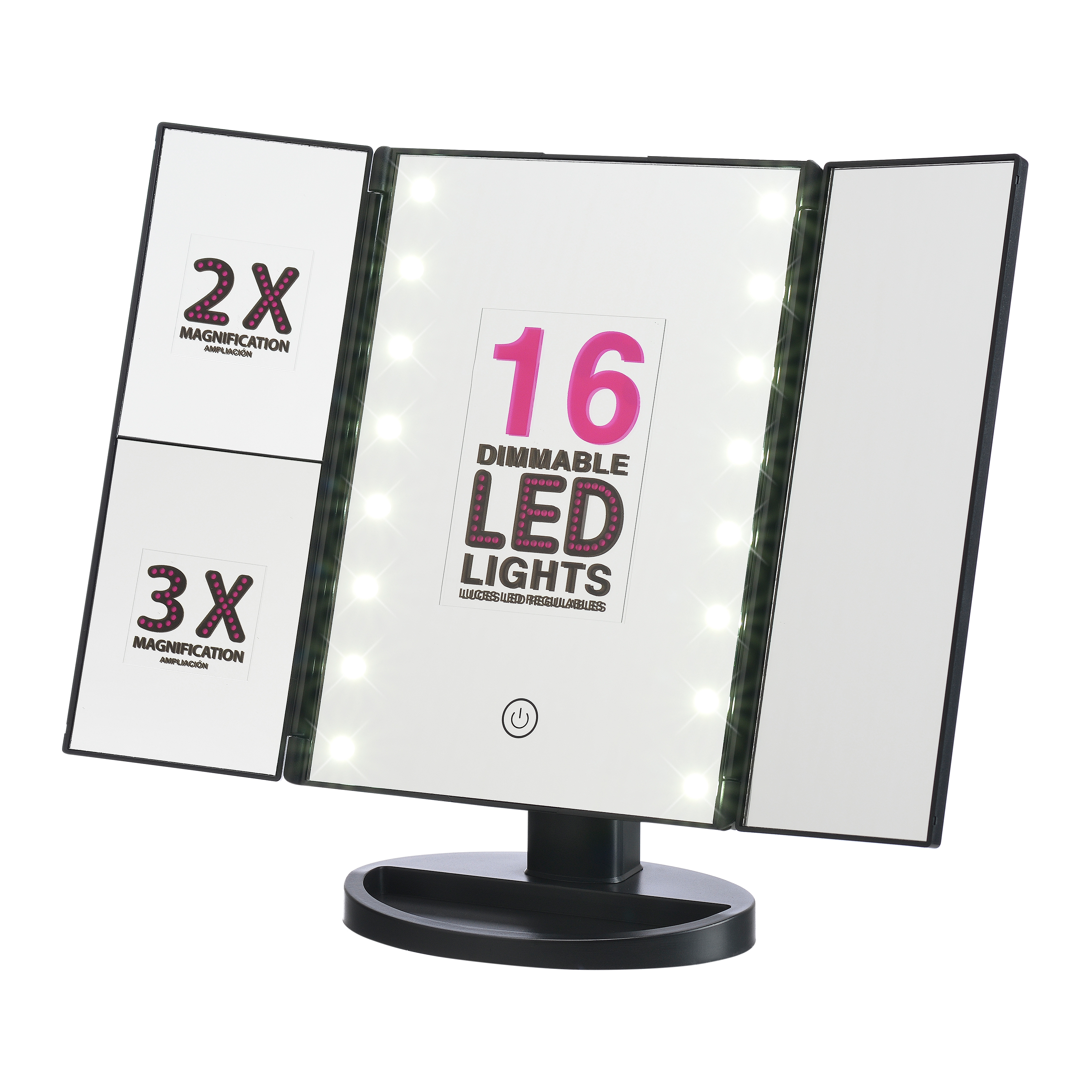 Onyx Makeup Mirror ($26 Value) with Dimmable LED Lights, Black