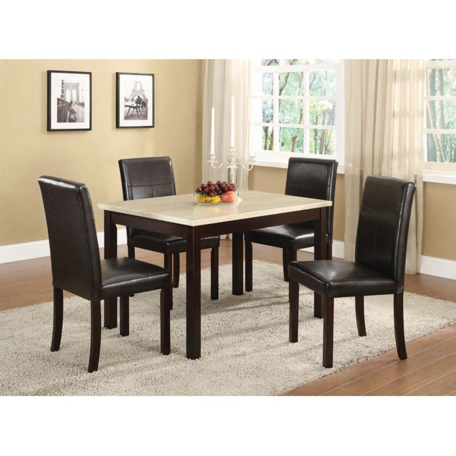 K & B Furniture Laminate Marble Top Table with Wooden Legs - Traver Tine / Espresso
