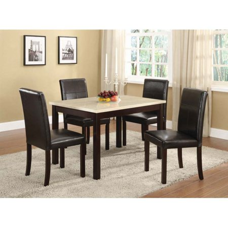 - K & B Furniture Laminate Marble Top Table with Wooden Legs - Traver Tine / Espresso