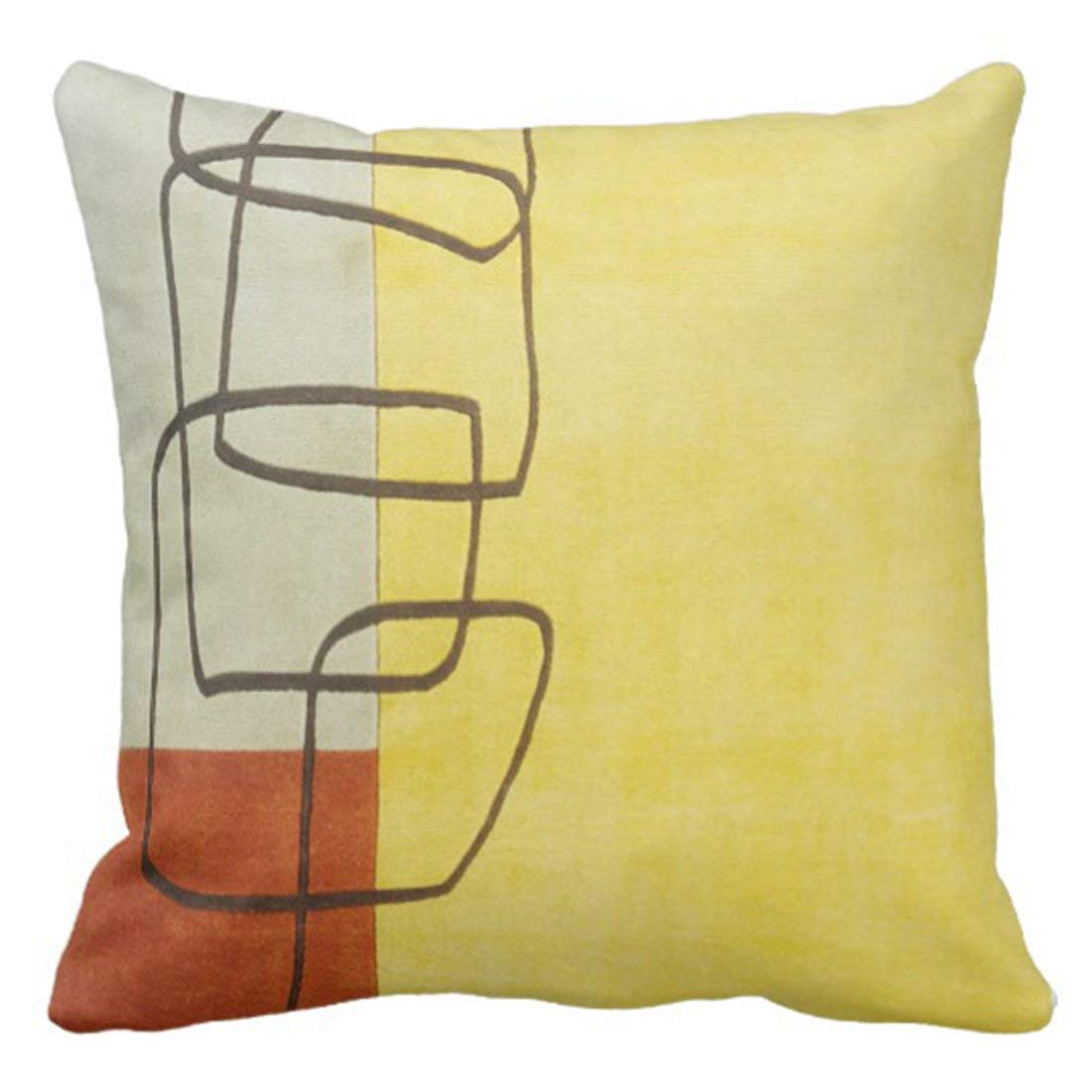 WOPOP Green Leather Orange and Yellow Stripes Red Look Pillowcase Cushion Cover 18x18 inches