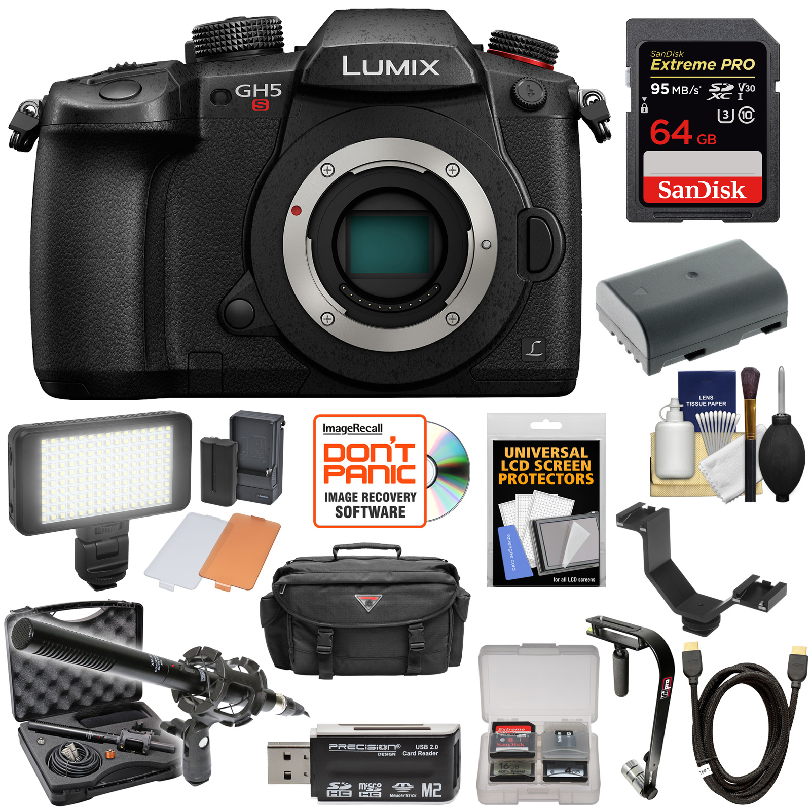 Panasonic Lumix DC-GH5S Wi-Fi C4K Digital Camera Body with 64GB Card + Battery + Case + Video Light +... by Panasonic