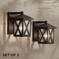 "John Timberland Rustic Outdoor Wall Light Fixtures Set of 2 Black 7 1/2"" Clear Glass Cottage Lantern for Exterior House Porch"