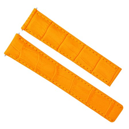 (18MM GENUINE LEATHER WATCH STRAP  DEPLOYMENT CLASP FOR TAG HEUER ORANGE #1C)