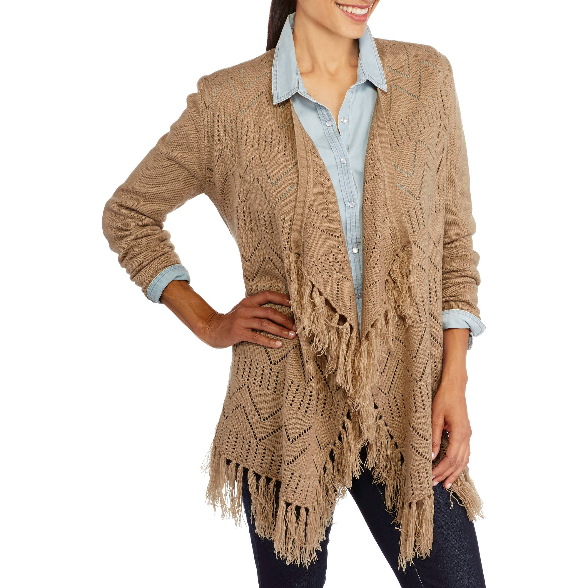 Samantha Rose Women's Mixed Pointelle Open Cardigan with Fringe