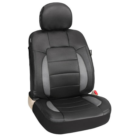 Leader Accessories Platinum Vinyl Faux Leather Seat Cover for Car Truck SUV Front Seats with Airbag / Headrest Cover Black/Grey