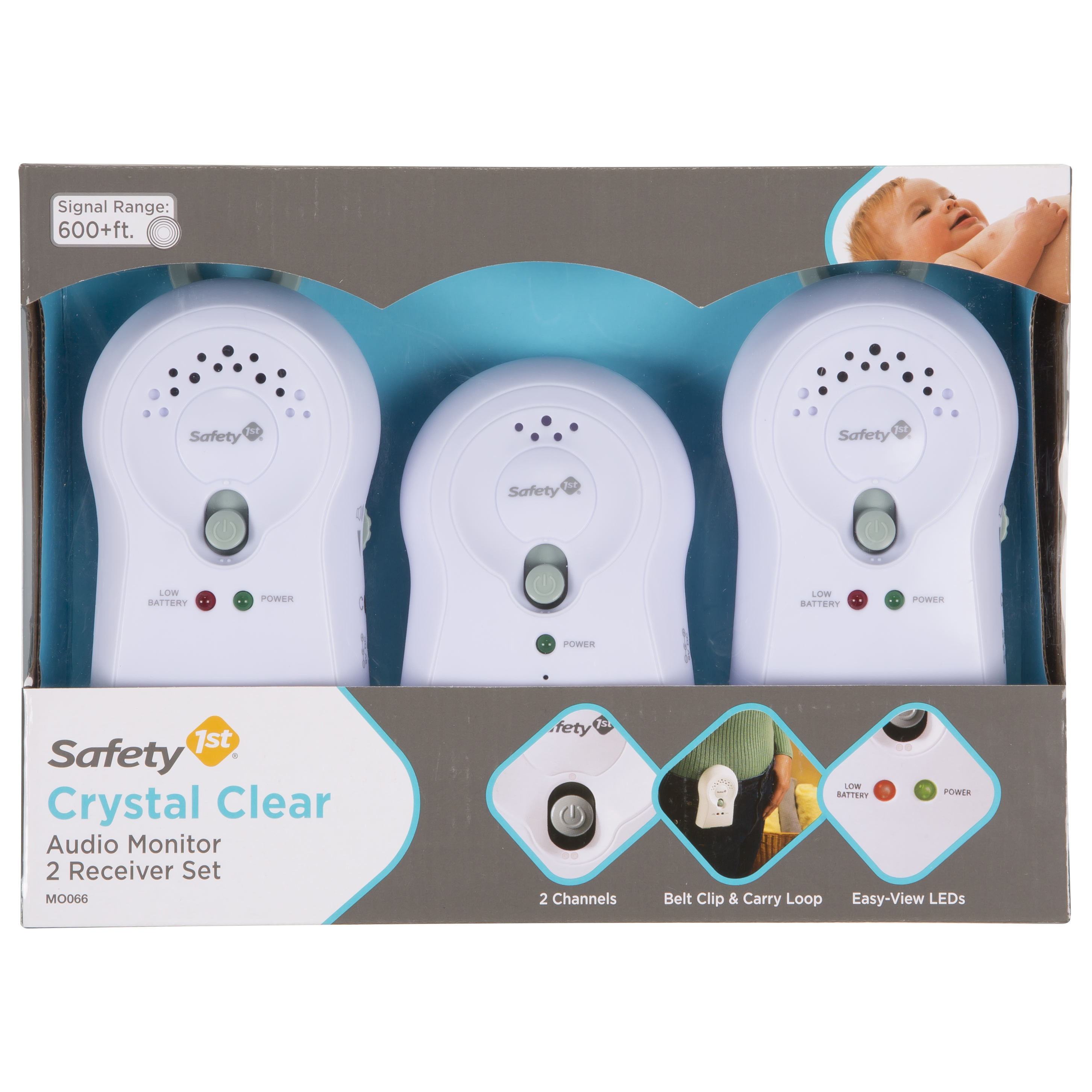 Safety 1st Crystal Clear Audio Baby Monitor with 2 Receivers, White