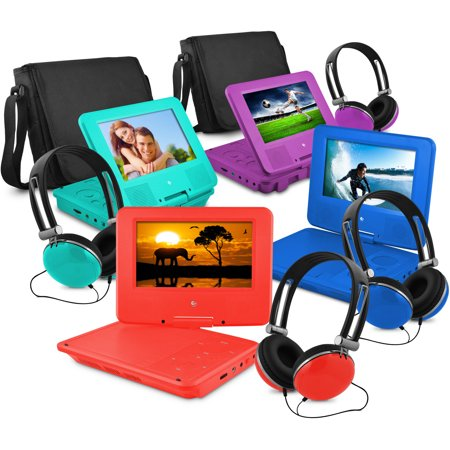 Ematic 7″ Portable DVD Player with Matching Headphones and Bag
