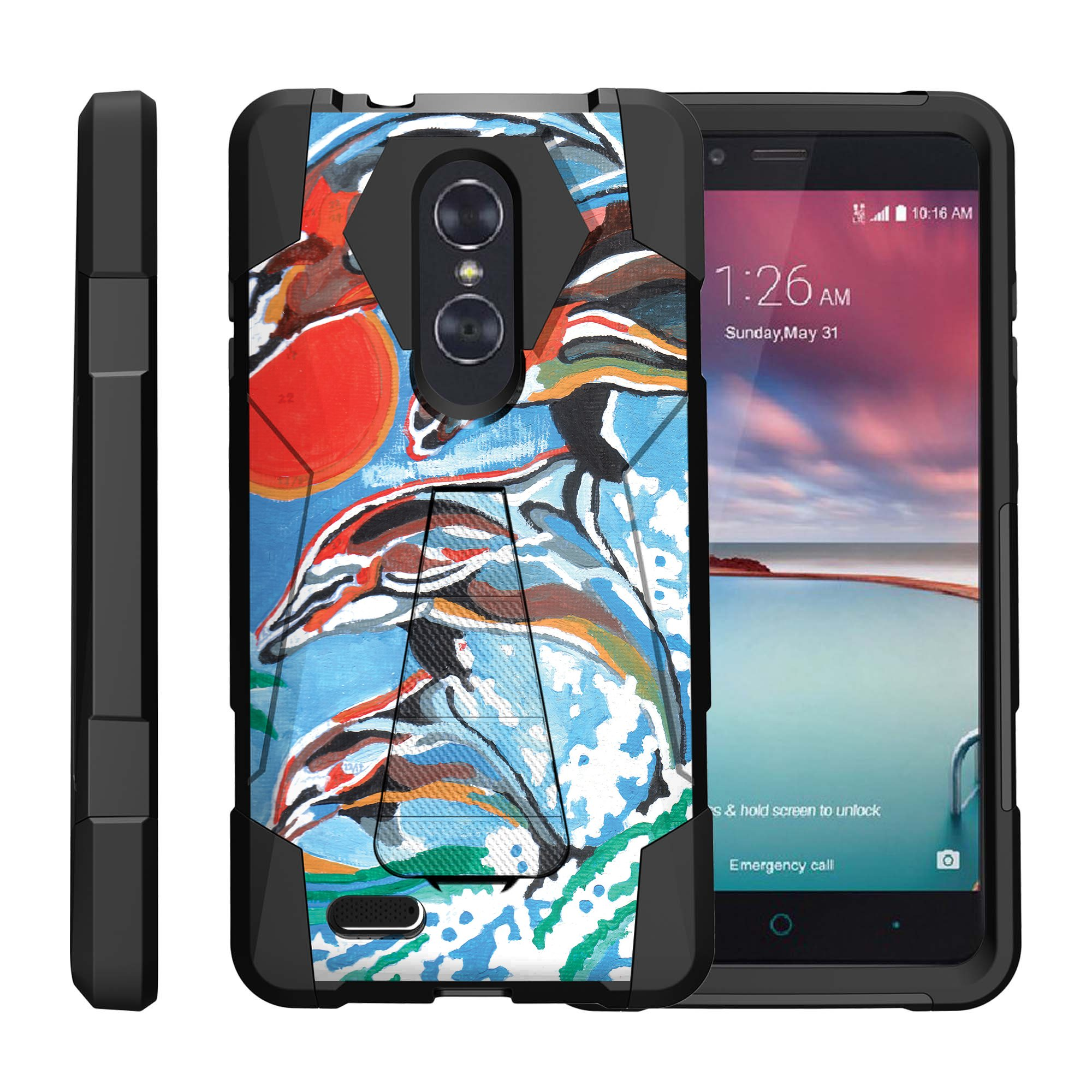 TurtleArmor ® | For ZTE ZMax Pro | ZTE Carry | ZTE Blade X Max [Dynamic Shell] Dual Layer Hybrid Silicone Hard Shell Kickstand Case - Swimming with Dolphins