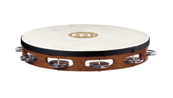 "Meinl TAH1AB 10"" Traditional Goat Skin Single Row Wood Tambourine by Meinl"